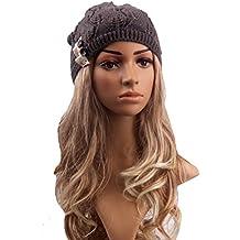 Pixnor Gorro de lana tejida para mujer, cálido, para invierno, esquí, snowboard, color gris