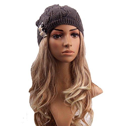 Pixnor Frauen Mütze Hut Wolle gestrickt Damen Winter warme SKI Snowboard verlässt aushöhlen stricken Mütze Charcoal Grey