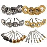 36Stück Messing Stahl Polieren Rotary Werkzeug Bleistift Draht Bürste, Rad Bürste, Tasse Edelstahl-Bürste 1/20,3cm (3mm) Schaft für Dremel, Zubehör