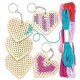 Kits de llaveros de madera en forma de corazón para punto de cruz que los niños pueden crear y decorar para San Valentín y el Día de la Madre (pack de 5)
