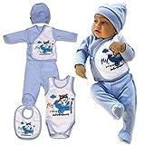 QAR7.3 Completino Neonato 0-3 mesi Cotone, Body, Bavaglio, Pigiamino, Cappello, Pantaloni e Maglietta