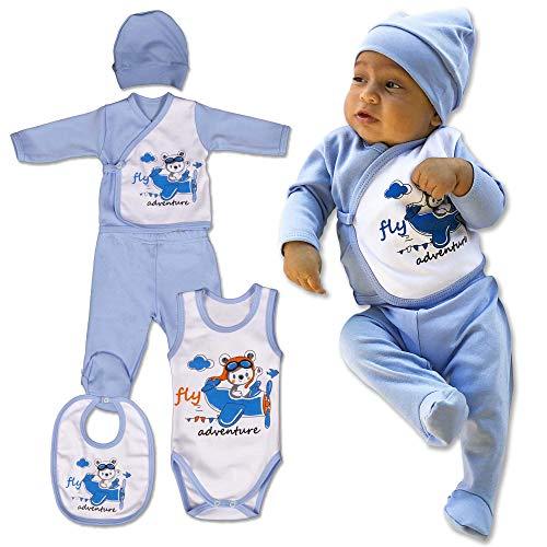 QAR7.3 Completino Neonato 0-3 mesi Cotone, Body, Bavaglio, Pigiamino, Cappello, Pantaloni e Magliett