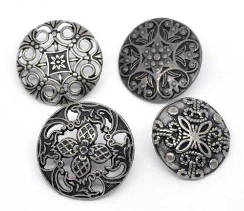 SiAura Material 10x Zufällig Gemischte Metallknöpfe, Antiksilber, 23 mm - 28 mm, Lochgröße 2,3 mm - 2,6 mm