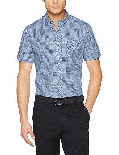 Ben Sherman Herren SS Mini House Gingham Shirt Freizeithemd, Blau (Dark Blue 26), XL (Slim Fit Hemd Gingham)