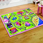 Childrens Girls Matrix Girls World Playmat Roadmap Pink Playroom Bedroom 100 x 190 Cm Rug