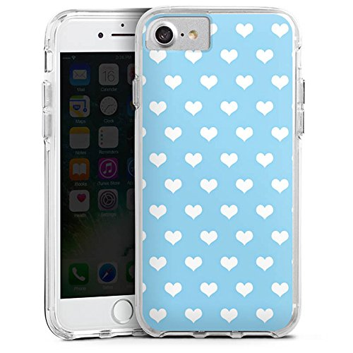 Apple iPhone 8 Bumper Hülle Bumper Case Glitzer Hülle Herzen Hearts Hellblau Bumper Case transparent