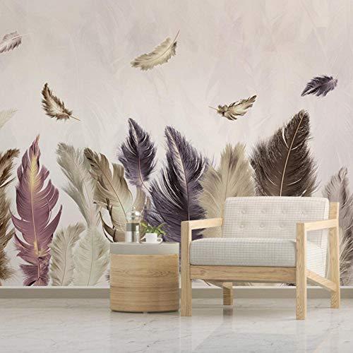 3D Fototapete, Modern Minimalist Gold Feather Fernsehen Sofa Hintergrund Dekoratives Wandbild, Wohnzimmer Schlafzimmer Wandbild 400 cm (B) x 250 cm (H) - 400 Dekorative Akzente