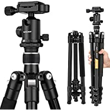 """K&F Concept Compact Camera Tripod 62"""" Aluminium 10kg Load Capacity Light Tude with Ball Head and Carrying Bag for Travel for Canon Nikon Sony-Silver"""