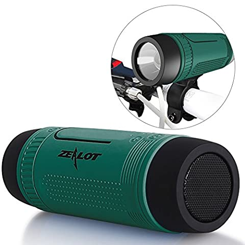 Enceintes Bluetooth ZEALOT S1 CSR4.0 Haut-parleurs Sans Fil Outdoor Speakers Portable Rechargeable Multifonction Boombox avec 4000mAh Alimentation Banque LED Light Micro SD Card Music Player Radio FM AUX Input Handfree Microphone for Smartphones ou des Ordinateurs Portables PC Tablets - Vert