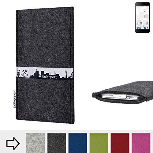 flat.design für Thomson Friendly TH101 Schutzhülle Handy Tasche Skyline mit Webband Ruhrpott - Maßanfertigung der Schutztasche Handy Hülle aus 100% Wollfilz (anthrazit) für Thomson Friendly TH101