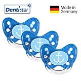 Dentistar® Schnuller 3er Set- Nuckel Silikon in Größe 3, ab 14 Monate - zahnfreundlich & kiefergerecht - Beruhigungssauger für Babys - Blau Ankerherz