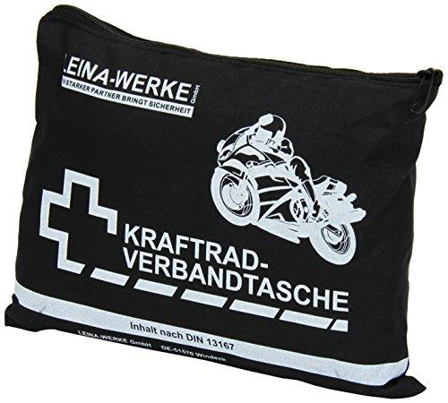 Leina 17002-Kit di Primo Soccorso, per Moto, Tipo I, Senza Velcro, Colore: Nero/Bianco
