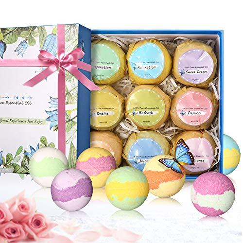 9 Stück Badekugel natürliche Spa-Kit für Hautpflege und Entspannung, ideale Valentinstag Geschenk-Set für Mama, Frau, Freundin ()