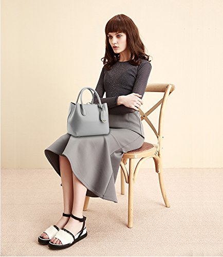 NICOLE&DORIS Donne Boutique moderno ed elegante maniglia superiore borsa del messaggero della borsa della spalla del Tote casuale del lavoro Bauletto Marrone Grigio