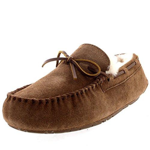Polar Herren Mokassin Echte Australische Schaffell Original Pelz Gefüttert Bummler Pantoffeln - Tan - UK8/EU42 - YC0449 -