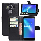 Asus Zenfone 3 MAX Plus ZC553KL(5.5') Coque, EUGO Flip Housse Étui coque de protection en Luxe cuir + 1 × Noir Stylet d'Ecran Tactile