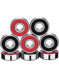 eBoot 8 Piezas de Rodamientos ABEC 9 Rodamientos de Skate Cojinetes de Patines de Rueda y Longboard 608 2RS, Doble Blindado, Rojo y Negro