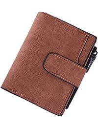 Joyebuy Women Lady Vintage Matte Purse Zipper Short Solid Clutch Mini Wallet (Coffee)