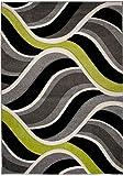 Tapiso Sumatra Teppich Kurzflor 3D Effekt Weich Grau Grün Modern Wellen Muster Jugendzimmer Wohnzimmer Schlafzimmer ÖKOTEX 80 x 150 cm