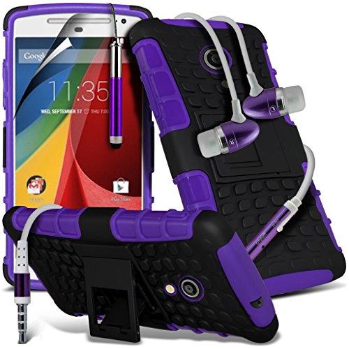 Motorola Moto G3 (3e Geneneration) 2015 cas Phone Holder Universal Support de voiture tableau de bord et pare-brise pour iPhone yi -Tronixs Shock proof+ Earphones (Purple)