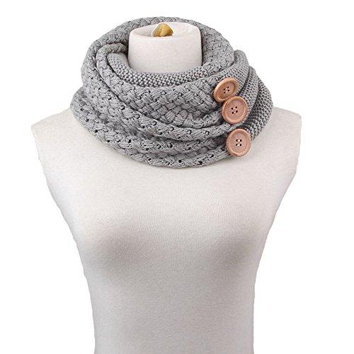 Sciarpa Donna Inverno donna Inverni scialle maglione Wrap Maglia Scialle Inverno Donna, Poncho Donna Invernale collo sciarpa (Grigio)