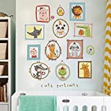 WandSticker4U- Wandtattoo süße Tierportraits | Wandbild: 100x100 cm | Wandsticker Tiere Fuchs Hase Bär Vogel Wandaufkleber Poster selbstklebende Bilderrahmen | Deko für Kinderzimmer Babyzimmer