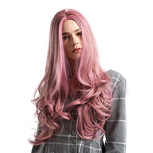Curly Kostüm Perücken Pink - SHJIRsei Damen Perücke Damen Perücke Long Curly Wig Synthetic Middle Costume Cosplay Salon Colorful Party Wig Perücken 66cm Perücken Haar für Karneval Fasching Cosplay Party Kostüm (66cm, Pink)