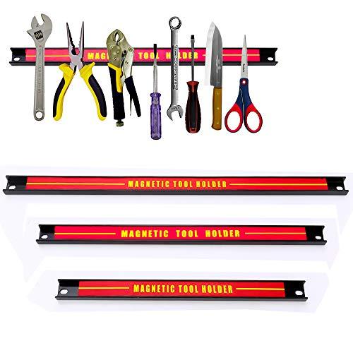 Spetan 3x Magnetleiste Werkzeughalter Magnet Werkzeugleiste Magnetschiene  Wand Magnetleiste (Set 48 37 23 CM lang) / 21KG Tragkraft Montage-Material Messerleiste