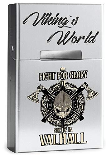 Leichtes Zigaretten ETUI aus Aluminium mit Magnetverschluss - für 20 Standard-Zigaretten - Viking´s World - Fight for Glory -