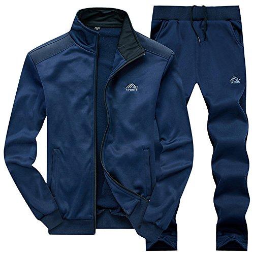 donhobo Herren Jogginganzug Trainingsanzug Sportanzug Fu?Ball Sporthose Hoodie Hose f¨¹r Gym Warm Tracksuit(01Blau,XS)