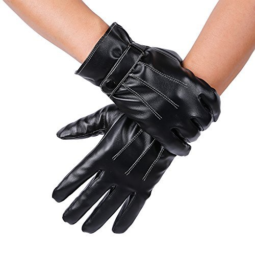 JISEN Men Winter Windproof PU Leather Touchscreen Thicken Warm Gloves