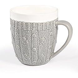 77L Taza de café con tapa y cuchara, taza de cerámica con tapa de bambú y cuchara de cerámica, ideal para beber leche o té taza en la oficina o en casa Coffee Mug with Cardigan, 450ML