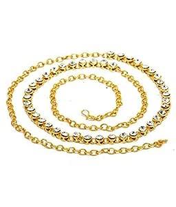 MIZWIIST Solutions Dazzling Gold & White Kamarband for Girls/Women