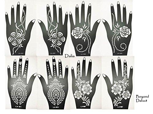 - Set Dalia Lot de 8 feuilles de pochoirs à usage unique pour les mains. Convient également aux tatouages pailletés et à l'aérographe