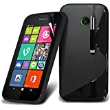 (Black) Nokia Lumia 530 Case Brand New Protective S line Rubber Wave Gel Cover Including Retractable Touch Screen Stylus Pen & LCD Touch Screen Protector Guard By Fone-Case