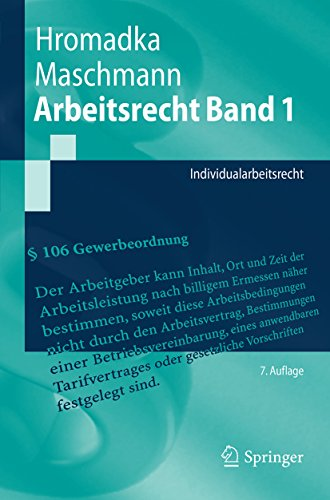 Arbeitsrecht Band 1: Individualarbeitsrecht (Springer-Lehrbuch)