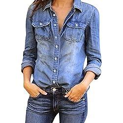 Mujeres Manga Larga Camisas Vaquero - Fashion Primavera Otoño Camisa de Jean con Botones Color Sólido Slim Blusa Boyfriend Casual Camisetas Tops Tallas Grandes