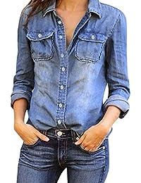 Blusas es Camisetas Boyfriend Mujer Camisas Tops Y Amazon tUx6qBww