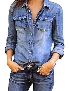 Yying Mujeres Manga Larga Camisas Vaquero - Fashion Primavera Otoño Camisa de Jean con Botones Color Sólido Slim...