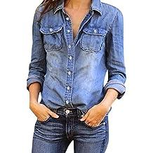 e53422f61 Mujeres Manga Larga Camisas Vaquero - Fashion Primavera Otoño Camisa de  Jean con Botones Color Sólido