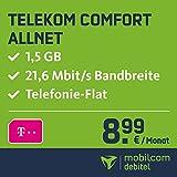 Telekom Comfort Allnet mit 1,5GB Internet Flat max. 21,6MBit/s, Telefonie-Flat in alle dt. Netze, 24 Monate Laufzeit, monatlich nur 8,99 EUR