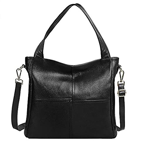 S-ZONE Women's Ladies' Cowhide Genuine Soft Leather Tote Fashion Classic