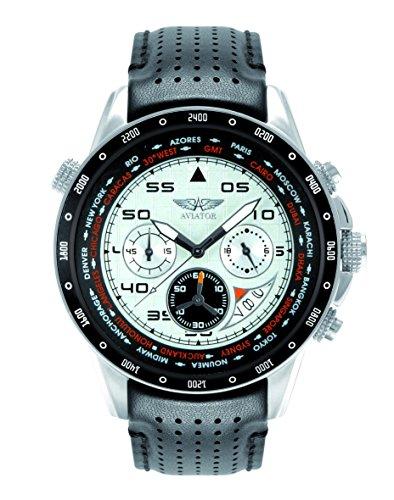 AVIATOR Herren avw7770g58Chronograph Edelstahl Armbanduhr mit schwarzem Lederband 100m WR
