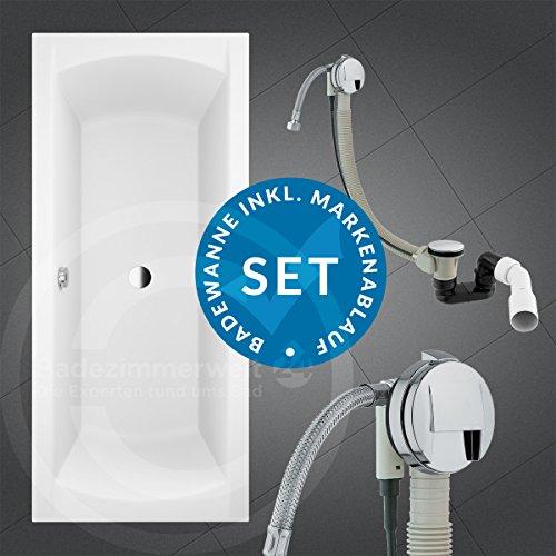 AQUABAD® KOMPLETTSET - Badewanne AURELIO 170x75 cm + Träger + Premium Ablaufgarnitur Chrom mit Wannenbefüllung (Wasserfall)