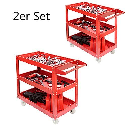 ALTERDJ 2er Set Werkstattwagen Rollwagen Werkzeugwagen Werkstatt-Servicewagen Lagerwagen 3 Böden Werkzeug Wagen mit Rollen