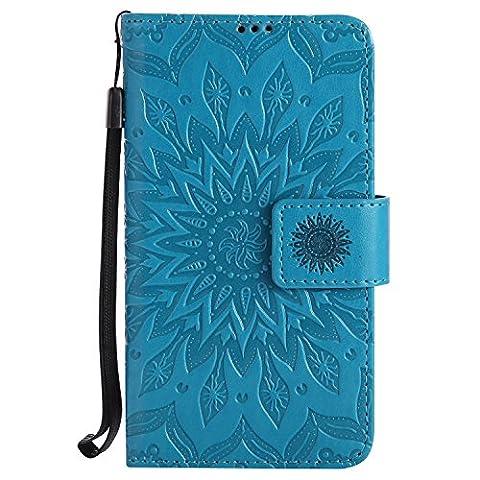 Meet de Nokia Lumia 630 (4,5 pouces) Coque PU Cuir Flip Housse, Soft TPU Protection Etui Souple Case Doux Silicone Bumper Case Cover Case Housse de Protection Etui Portefeuille Bumper Case [série de tournesol] pour Nokia Lumia 630 (4,5 pouces) - bleu