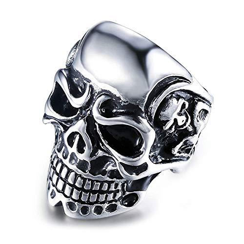 Schädel Ringe Männer Skeleton Schädel Ringe aus Titan für Männer Herren Ring Mode - Schädel-ringe-titan