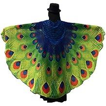 Lenfesh Chal de Gasa de alas de pavo real Disfraz de hada con alas de mariposa Carnaval 2018