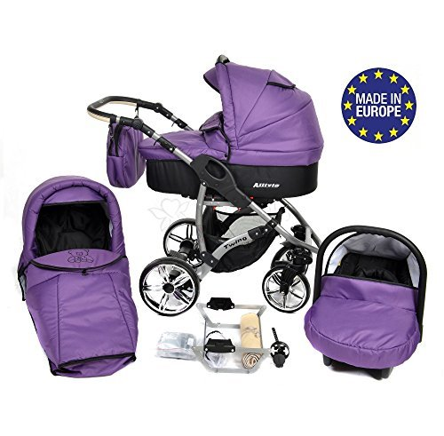 ALLIVIO, 3-in-1 Travel System with Baby Pram, Car Seat, Pushchair & Accessories, Black & Violet 51cPHpbpvIL