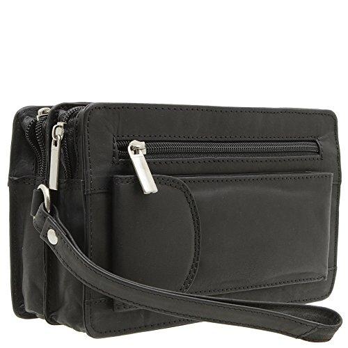 Herren echt Leder Handgelenktasche Herrenhandtasche in 3 Farben (Schwarz)